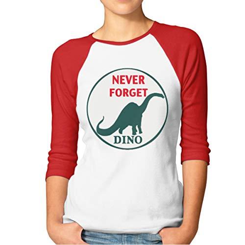 Buecoutes Women's Never Forget Dino 3/4 Sleeve Baseball Tee Raglan T-Shirts Red -