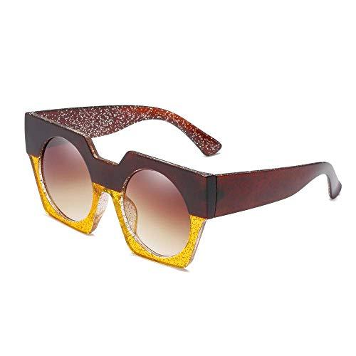 LODDD Fashion Neutral Big Frame Double Color Shades Sunglasses Integrated UV Glasses