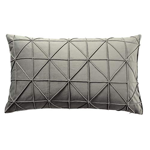 JWH Handmade Geometric Accent Pillow Cases Velvet Cushion Covers Decorative Pillowcases Luxury Shell Home Bed Living Room Decoration Sheets 14 x 24 Inch Light Gray