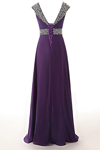 Sleeves Cap Dress Chiffon Anlin Gown Bridesmaid AN53 Prom Long Royal Womens Beading Blue xwqn04C