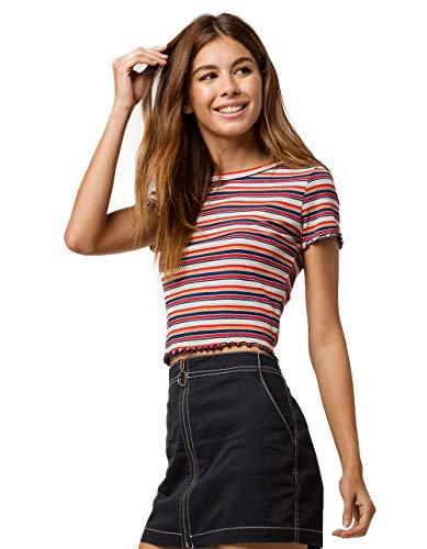Lettuce Edge Ribbed Shirt - GOOD LUCK GEM Ribbed Lettuce Edge Navy Crop Tee, Navy, X-Large