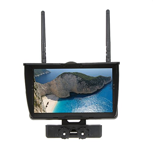 Price comparison product image QWinOut Boscam Galaxy D2 800x480p 7 inch TFT LCD FPV Monitor / Display Built-in 5.8G 32CH Dual Wireless Receiver with Holder 4000mAh Battery and Sun Hood for RC FPV Quadcopter