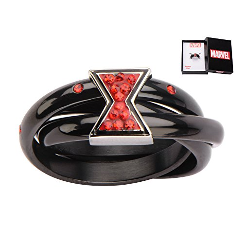 Marvel Avengers Black Widow Logo Stainless Steel Ring | 6