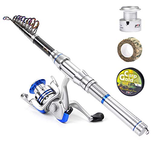 FTK Fishing Rod Reel Combo Carbon Fiber Portable Pole Spinning Reel with Fishing Line and Gift Box for Kids Youth Famliy Travel 1.8M (Line Carbon Fishing)