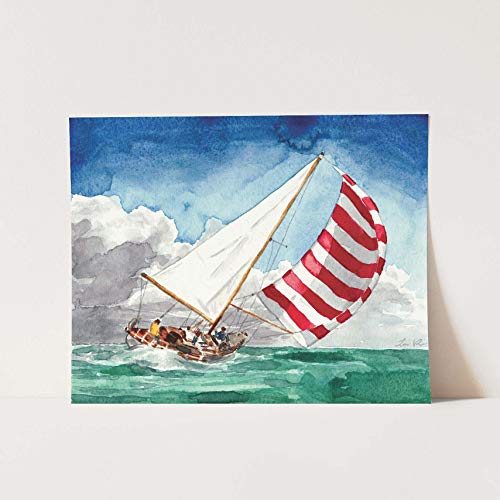Striped Sailboat Giclee Print of Watercolor Painting 8 x 10, 11 x 14 inches Fine Art Poster Nantucket Americana Yacht Sailing Jackie Kennedy Nautical Inspirational