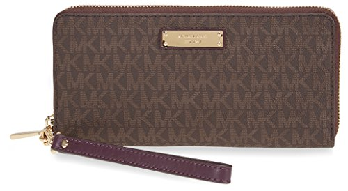 Michael Kors Jet Set Travel Logo Continental Wristlet- Brown and Purple by MICHAEL Michael Kors