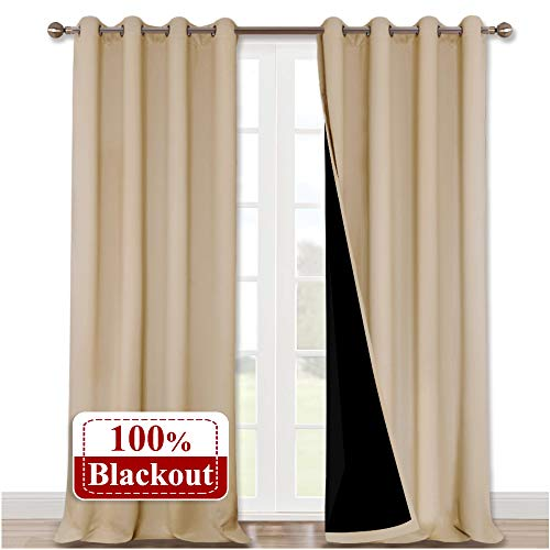 NICETOWN Thermal Insulated 100% Blackout Curtains, Sound Proof Drapes with Black Backing, Full Light Blocking Panels for Patio Sliding Door (Biscotti Beige, 1 Pair, 52 inches x 108 inches) (Light Blocking Curtains Beige)
