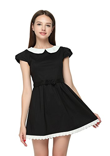 TULIPTREND Women's Fresh Doll Collar Short Sleeve Dress Black US X-Large/Asian XX-Large]()