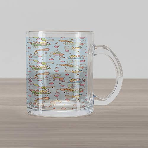 - Ambesonne Angel Glass Mug, Little Girl with Shooting Stars Clouds Balloons Music Cartoon, Printed Clear Glass Coffee Mug Cup for Beverages Water Tea Drinks, Baby Blue Sea Green Sand Brown