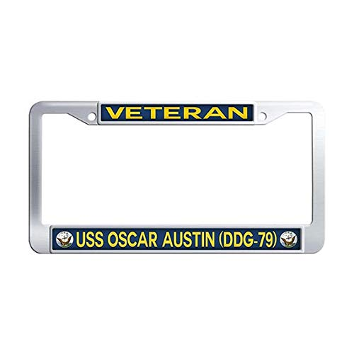 Navy USS Oscar Austin DDG-79 Veteran Auto License Tag Holder,Stainless Steel Car Plate -
