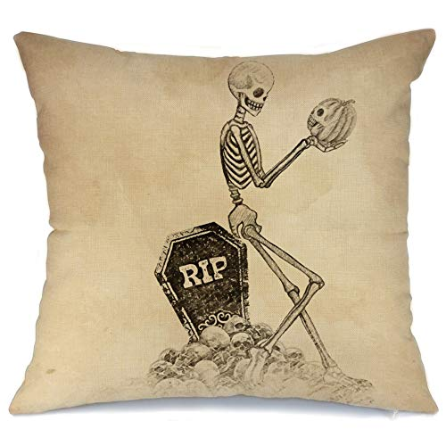 AENEY Wicked Halloween Skull and Pumpkin Throw Pillow Cover 18 x 18 for Couch Wicked Vintage Fall Decorations Farmhouse Home Decor Autumn Black Decorative Pillowcase Cotton Linen Square Cushion Case f