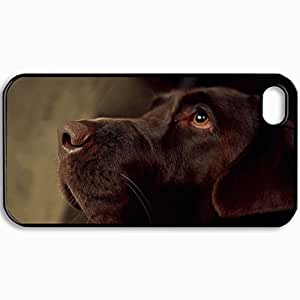 Personalized Protective Hardshell Back Hardcover For iPhone 4/4S, Dog Labrador Nose Design In Black Case Color