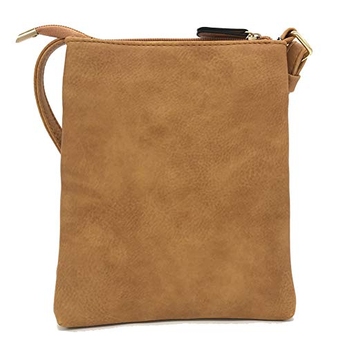 FairyBridal Triple Zipper Mutil-Pocket Leather Messenger Bag for Women,Crossbody Bag 5 Colors Satchel Purse (khaki(pu leather)) by FairyBridal (Image #2)