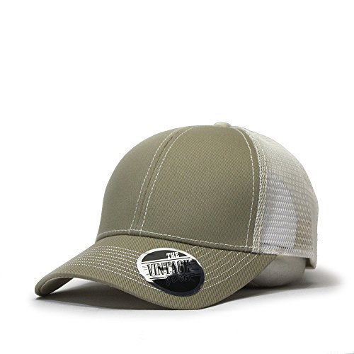 Back Cadet Cap - Vintage Year Plain Cotton Twill Mesh Adjustable Trucker Baseball Cap (Khaki/Beige)