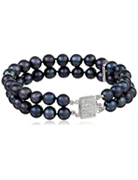 Bella Pearl Double Cubic Zirconia Chinese Freshwater Cultured Pearl Bracelet
