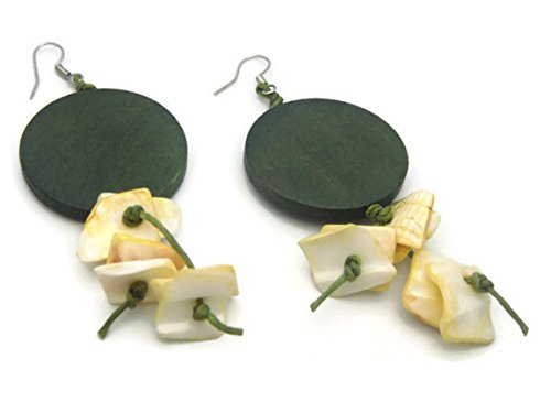 CHADADA Jewelry Hawaiian Style Sea Shells & Wood Dangle Earrings Handmade for Women (Green), (Alice In Wonderland Blue Flower Dress Costume)