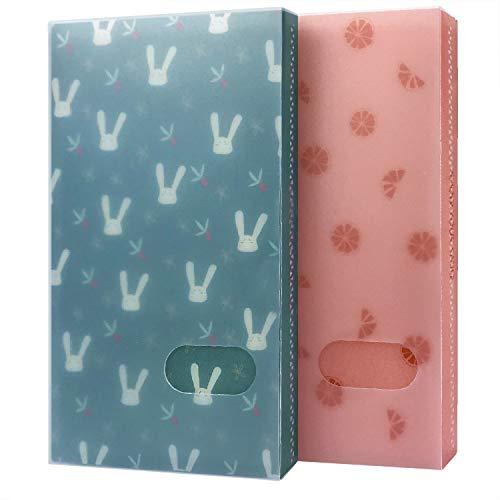 Initial heart Business Card Book Holders 2 Pack Color Name Card Book Rack Book Case Organizer Personal Cards Credit Cards Photo Album LOMO Cards Storage 96 Pockets (Lemon-Rabbit)