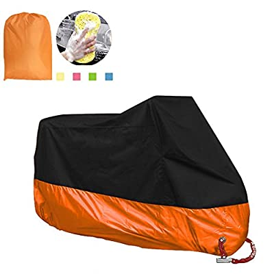 Large Motorcycle Cover, Enk 116 Inches Motorbike Waterproof Cover for Honda, Yamaha, Suzuki, Harley., Waterproof, Dust-proof, UV Protective, Breathable Cover Outdoor