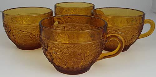 4 Tiara Indiana Glass Amber Sandwich Pattern Coffee -