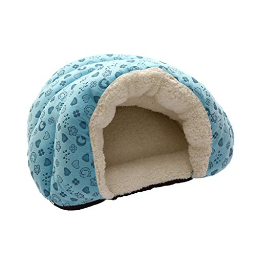 Original Cuddle Pouch Pet Bed, Dog Cave, Covered Hooded Pet Bed, Cosy, for Burrower Puppies Cat Litter Sleeping Bed (Blue, M)