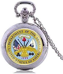 Reloj de bolsillo estilo antiguo del ejército de los Estados Unidos, de cuarzo, estilo vintage, para hombres, con cadena y colgante personalizado, regalo para mujeres