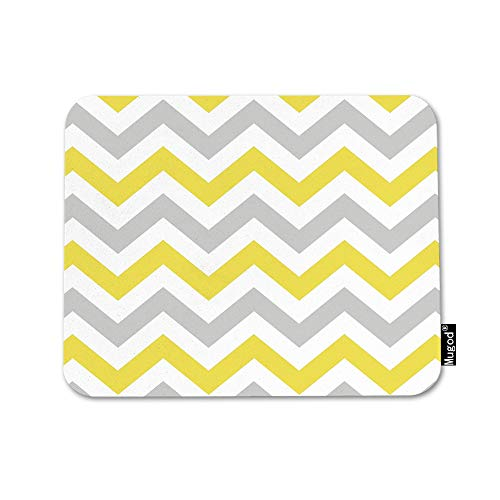 Mugod Chevron Mouse Pad Zigzag Wavy Geometric Stripe Line Yellow White and Gray Mouse Mat Non-Slip Rubber Base Mousepad for Computer Laptop PC Gaming Working Office & Home 9.5x7.9 Inch