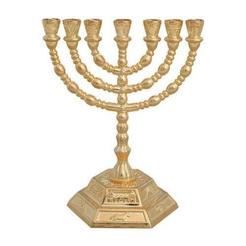 7 Branch Hexagonal Base 12 Tribes of Israel Menorah in Gold by N/A