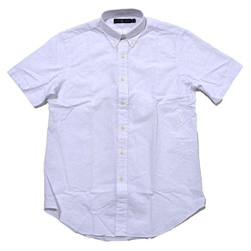 Polo Ralph Lauren Mens Seersucker Short Sleeve Shirt (L, Bright White)