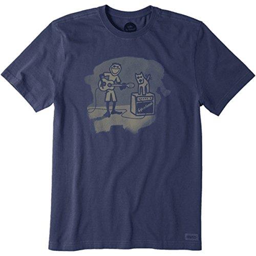 Life is Good  Men's Guitar and Amp Crusher Tee Darkest Blue T-Shirt (Guitar Mens Good)