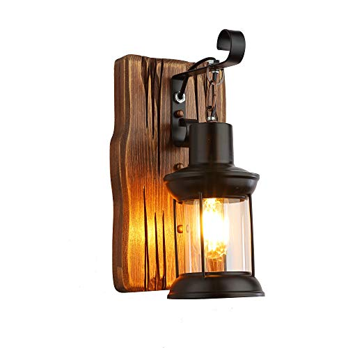 Single Head Industrial Vintage Retro Wooden Metal Painting Color Wall lamp for the Home/Hotel/Corridor Decorate Wall -
