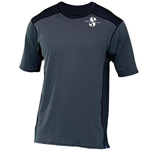 Pro Short Sleeve Rash Guard - ScubaPro Men's UPF 50 Channel Flow Short Sleeve Rash Guard (X-Large, Graphite)