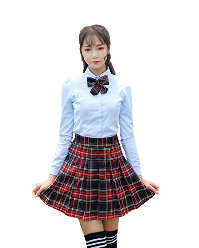Beautifulfashionlife Women`s 80s Costume Fancy Outfit School Stripes Skirts (L,Black Mixed Rose Red) -