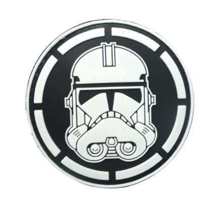 Glow in The Dark Star Wars Clone Soldier Stormtrooper Military PVC Patch Rubber Badges Patch Tactical Stickers for Clothes Back with Hook (color2)]()
