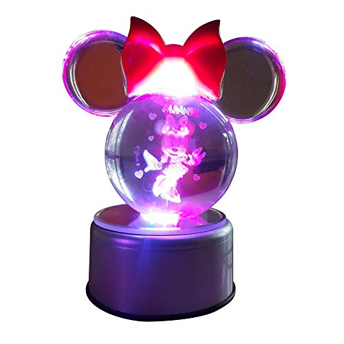Clear K9 Crystal Ball Pokeball Night Lights 7 Color LED - Minnie Mouse Pokemon Pokeball with LED Rotary Lamp Base and Advanced 3D Laser Engraved