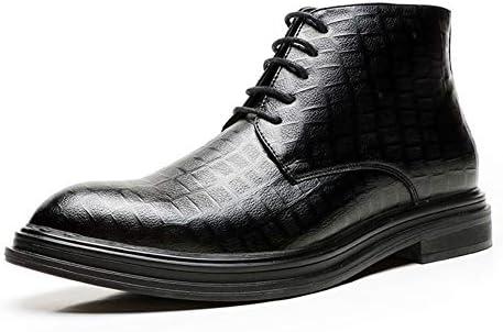 男性の足首の靴のためにバイク用コンバットブーツはレースアップ&SideZipperマイクロファイバーレザー通気性の裏地のタータンチェック柄のシックなクラシックの高さは増加します YueB HAJ (Color : ブラック, サイズ : 24.5 CM)