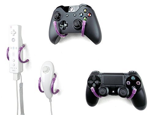 - Wall Clip - Xbox, PlayStation, Wii, and Retro Game Controller Organizer - 4 Pack, Purple