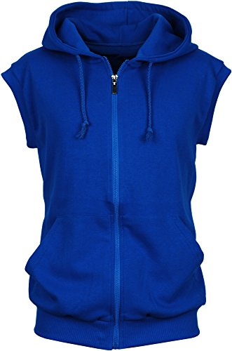 Angel Cola Men's Sleeveless Hoodie Zip Up Cotton Vest Royal Blue M (Blue Hoodie Vest)