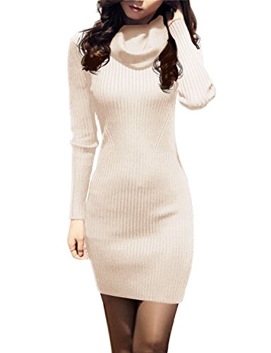 v28 Women Cowl Neck Knit Stretchable Elasticity Long Sleeve Slim Fit Sweater Dress (18-22,Beige)