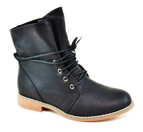 King Of Shoes Bequeme Damen Stiefeletten Worker Schnürboots Outdoor Ankle Halbschaft Knöchelhohe Stiefel Blockabsatz 85-2 Schwarz