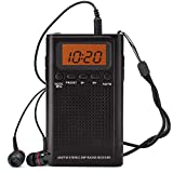 Horologe Portable Pocket Handy AM/FM Radio-Battery Operated, Sleep Timer, Preset, Earphone Jack, Powered by 2 AAA...