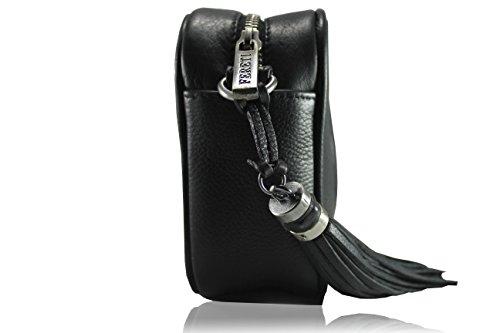 FERETI Borsa nera con catena intrecciata argento vera pelle leone Fereti fatte a mano