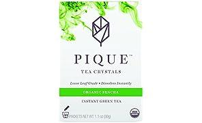 Pique - Cold Brew Instant Tea - USDA Organic Sencha Japanese Green Tea Powder - Supercharged Antioxidants, Calm Energy, Sugar Free - 50 Count - Enjoy Hot or Iced - Vegan, Paleo, Gluten Free
