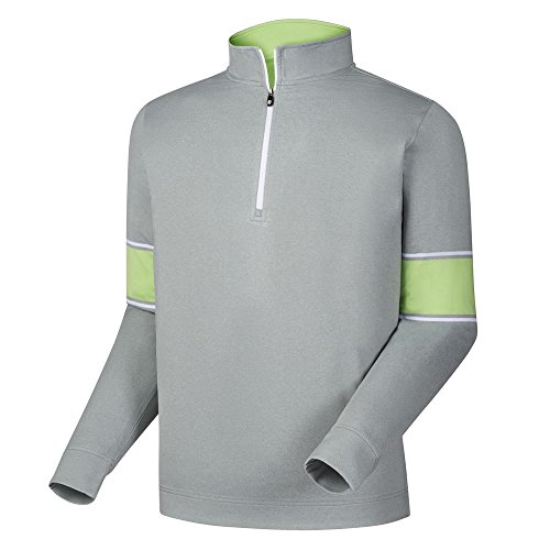 FootJoy Ribbed Jacquard Half-Zip Vest (Heather Grey/Honeydew/White, X-Large) ()