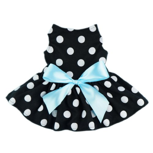 (Fitwarm Cute Polka Dot Ribbon Dog Dress Dog Clothes Cozy Dog Shirt Pet Dress, Medium)