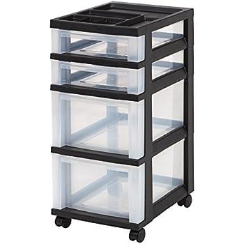 iris 4drawer rolling storage cart with organizer top black