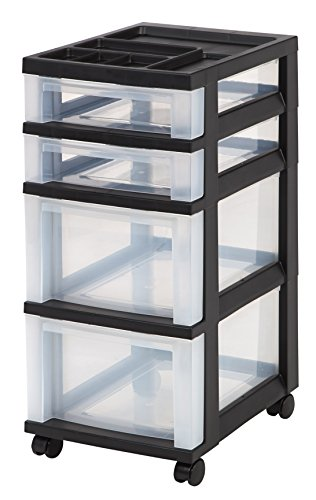 (IRIS 4-Drawer Rolling Storage Cart with Organizer Top, Black)