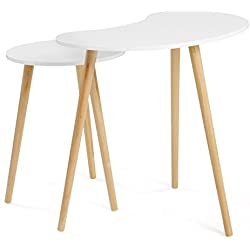 "SONGMCIS Nesting Tables Coffee End Tables Pea Shape Modern Furniture ""Daffodil Series"" 17.8 in ~ 21.6 in Height,3 Solid Pine Legs for Living Room Bedroom Kid's Room, Nature White Tabletop Set of 2"