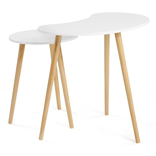 SONGMICS Nesting Tables Coffee End Tables Pea Shape Modern Furniture Daffodil Series 17.8 in – 21.6 in Height, 3 Solid Pine Legs for Living Room Bedroom Kid s Room, Nature White Tabletop Set of 2