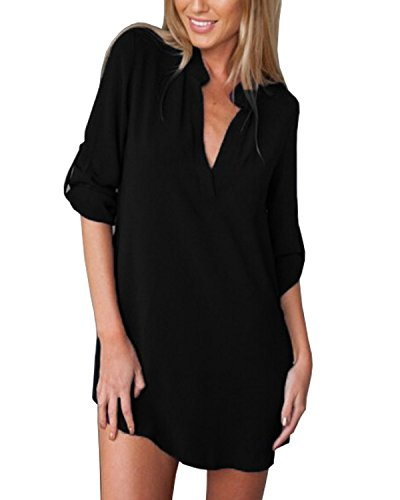 Glamorous Semplice Donna Lunga HaiDean Manica Scollo Sciolto Tinta Camicia Unita Lunga Vintage Casual Estiva Classica V Camicie Blusa Elegante Chiffon Top Nero Pd4xvn4Cqw