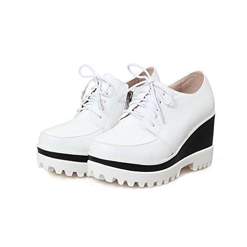VogueZone009 Damen Weiches Material Rund Zehe Hoher Absatz Reißverschluss Rein Pumps Schuhe Weiß